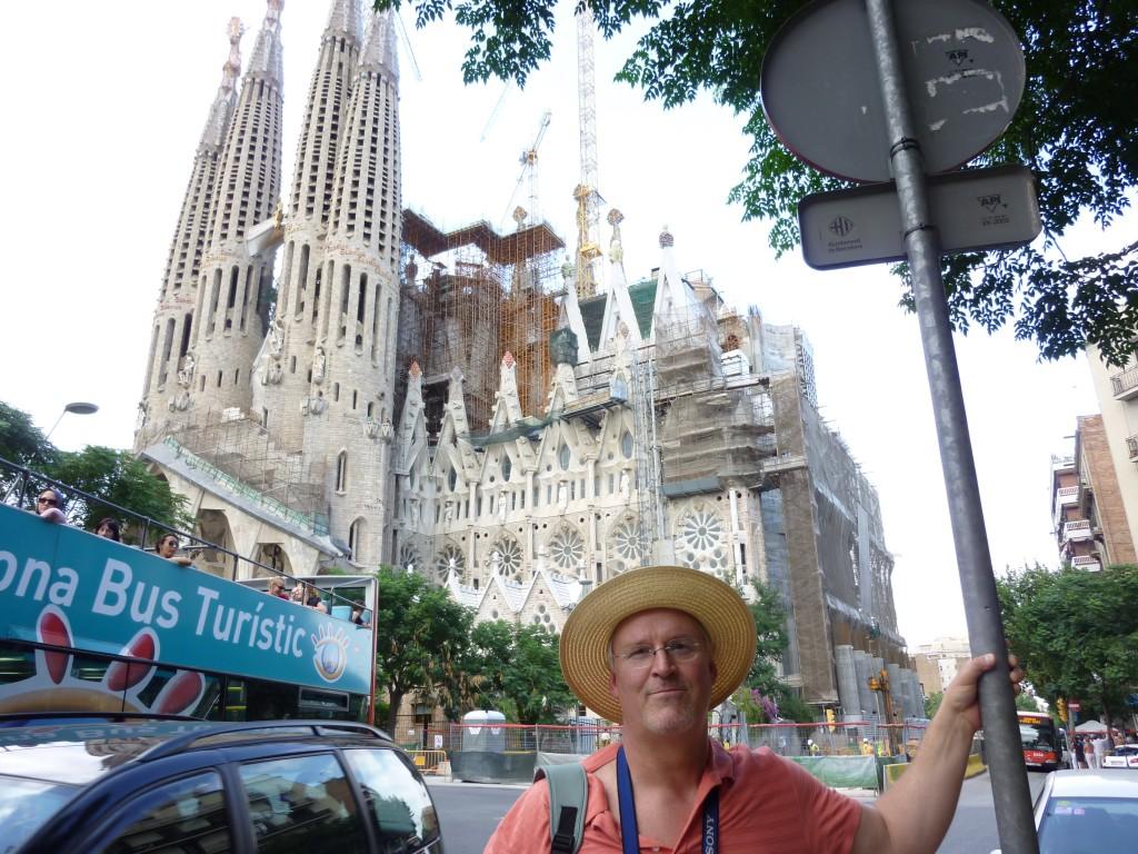 Wearing a Jethro hat in front of La Sagrada Familia in Barcelona