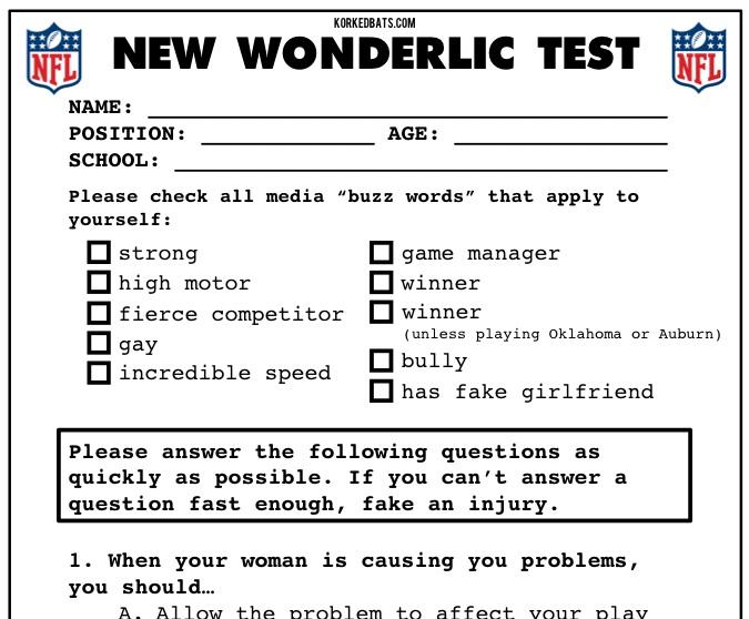 The new nfl wonderlic test (parody) daily snark.