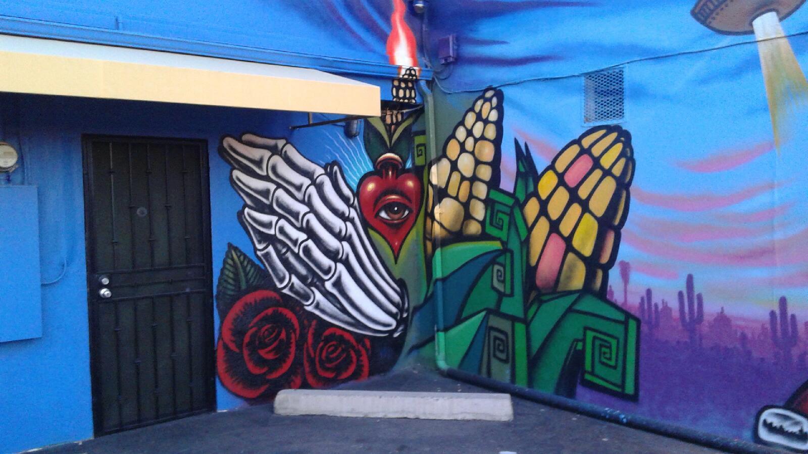 Calle 16 mural project and barrio cafe phoenix for Dia de los muertos mural